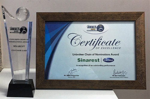Sinarest- Áward for winning 'Brand of the Year' for 3 consecutive years