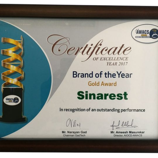 Sinarest Brand of the Year Gold 2017 Certificate